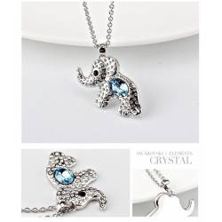 Ouxi Collier 10956-1 Swarowski Elements Rhodium Bleu