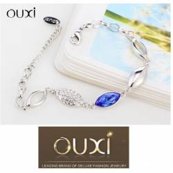 Ouxi Gourmette 30211-1 Swarowski Elements Or Rhodium Bleu