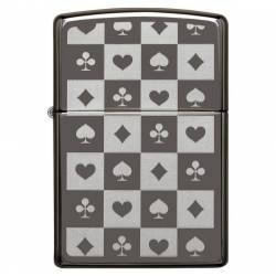 Zippo Briquet All 4 Card Suits Black Ice Chrome Réf. 29082