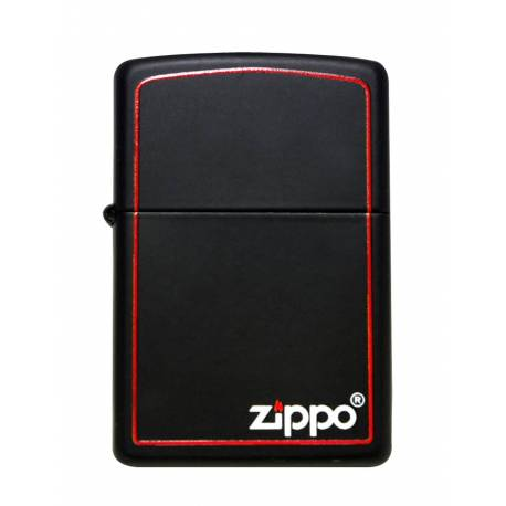 Zippo Briquet Zippo Logo With Red Border Black Matte