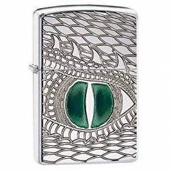 Zippo Briquet Green Dragon Eye Chrome