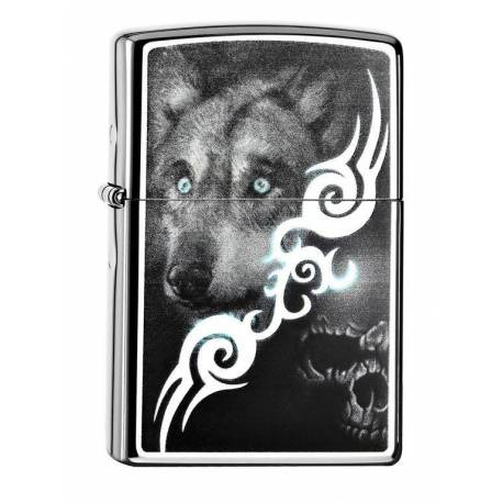 Zippo Briquet Blue Eyed Wolf With A Evil Skull